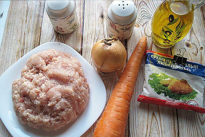 Ингредиенты для котлет из куриного фарша