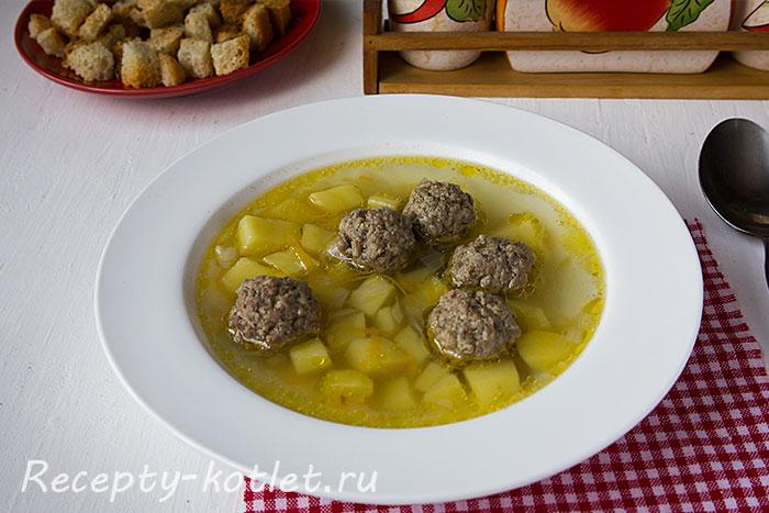 Готовый картофельный суп с фрикадельками - итоговое фото