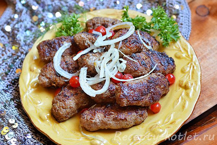 Готовые люлю-кебаб по рецепту на сковороде