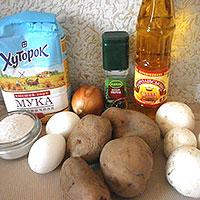 Все ингредиенты для картофельных драников с грибами - фото