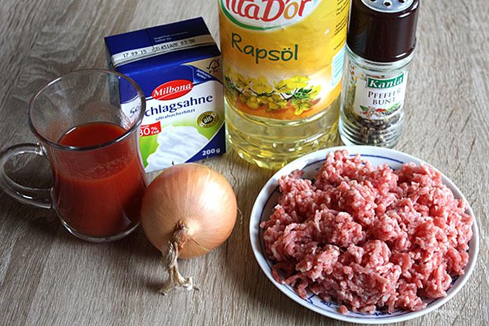 Ингредиенты для тефтелей с подливкой