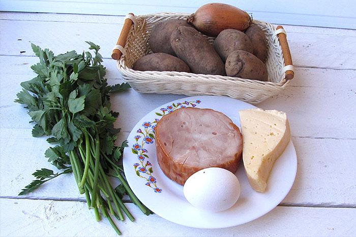 Ингредиенты для картофельных зраз с сыром и ветчиной