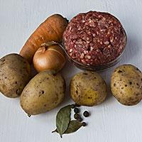 Продукты для картофельного супа с фрикадельками - фото