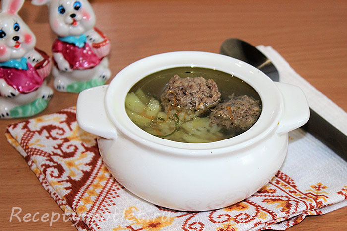 Суп с фрикадельками приготовленный мультиварке - фото